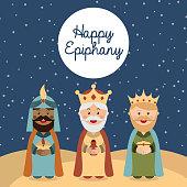 Happy Epiphany card with cartoon three kings