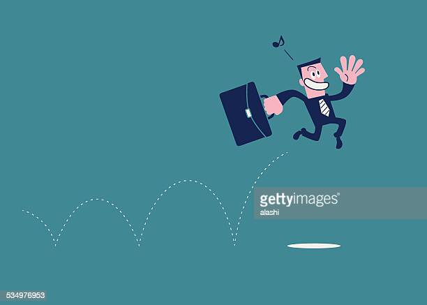 Happy Excited Businessman Jumping