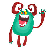 Happy excited cartoon monster