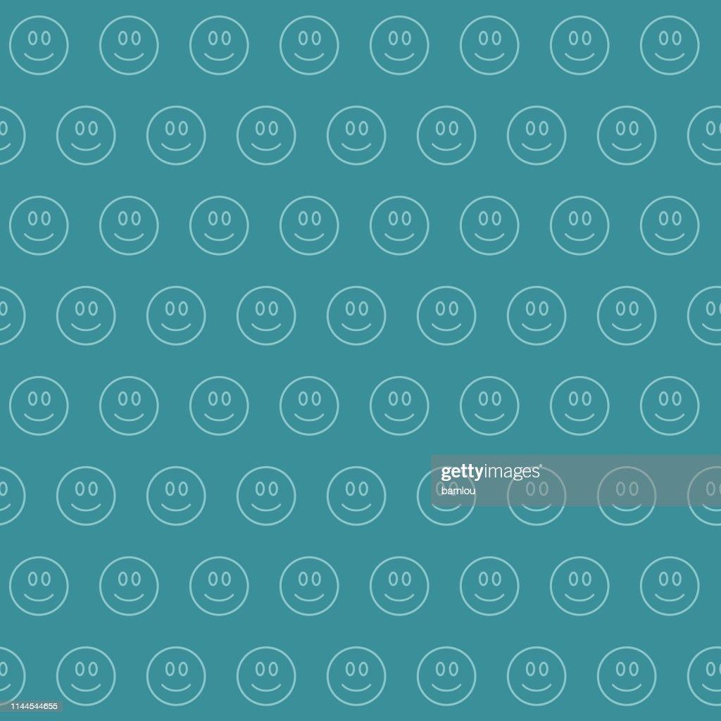 Happy Face Bluish Seamless Pattern Background