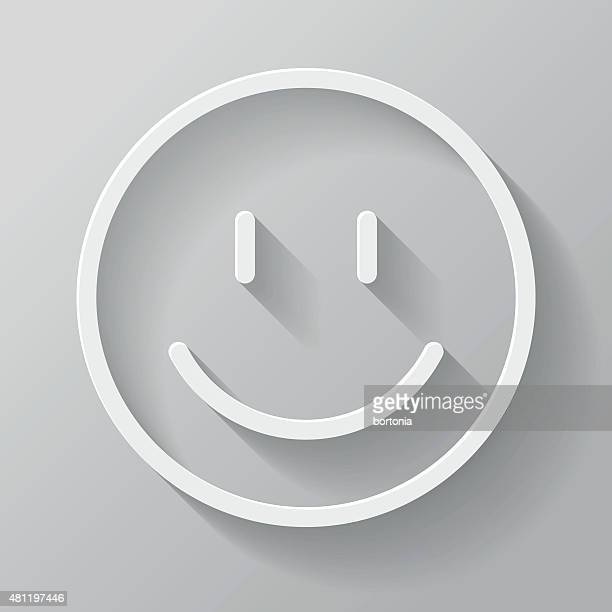 Happy Face Paper Thin Line Interface Icon With Long Shadow