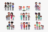 Happy Families isolated vector illustration