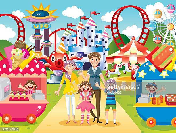 happy family at amusement park - fairground stock illustrations