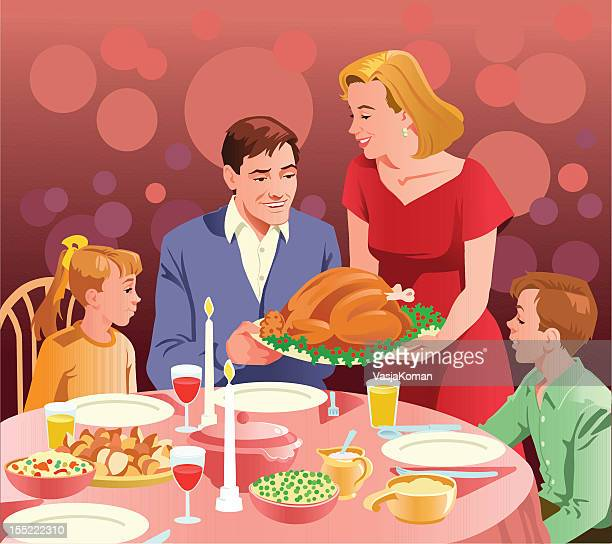 ilustraciones, imágenes clip art, dibujos animados e iconos de stock de feliz familia en celebrar el día de acción de gracias - mesa de comedor