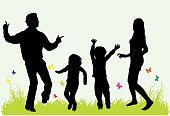 Happy family. Black silhouettes.