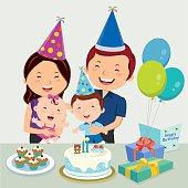 Happy family celebrating kid birthday