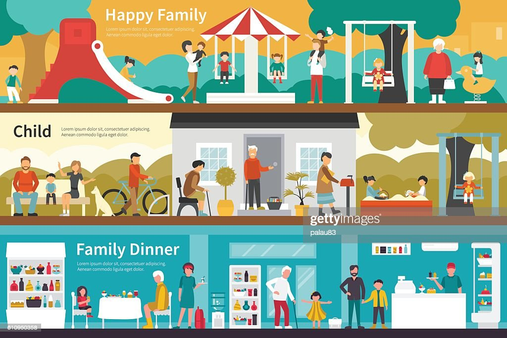 Happy Family Child Dinner flat interior outdoor concept web