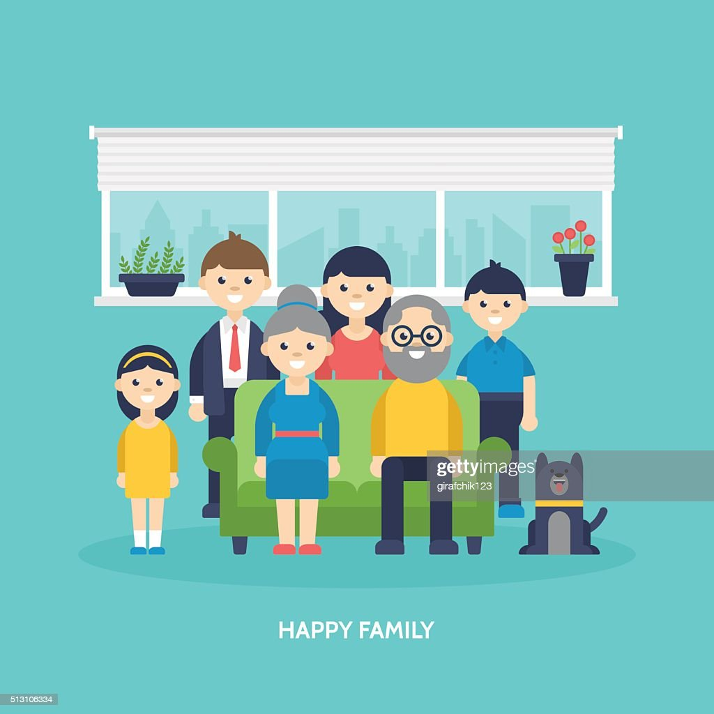 Happy family concept. Parents, kids and grandparents togetther at home
