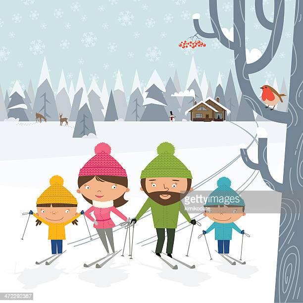 Happy family cross-country skiing