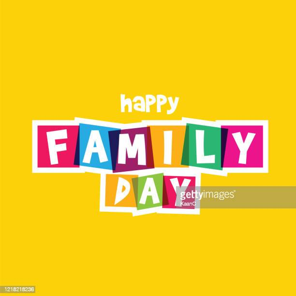 happy family day. typography on white background. family design template for gift cards, invitations, prints etc. stock illustration - day stock illustrations