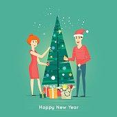 Happy family decorating Christmas tree.