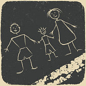 Happy family doodle. Picture on asphalt. Vector illustration, EP