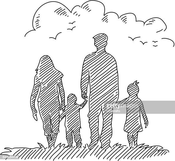 happy family drawing - simplicity stock illustrations, clip art, cartoons, & icons