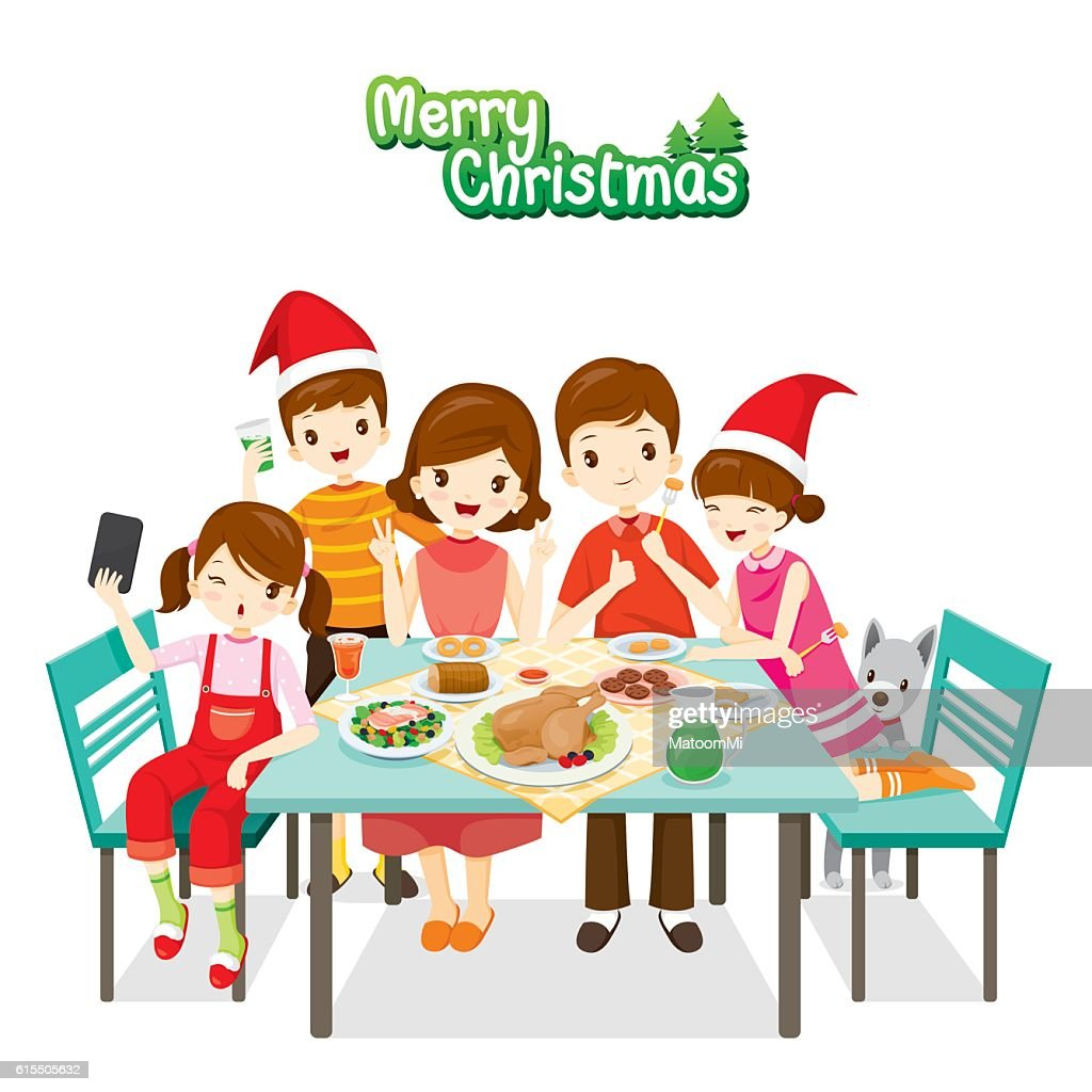 Smiling Cartoon Family Having Dinner Together | People Stock