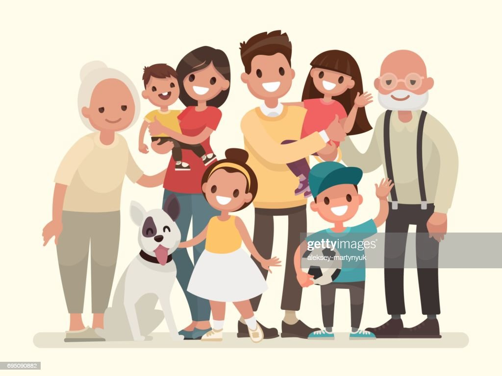 Happy family. Father, mother, grandfather,grandmother, children and pet