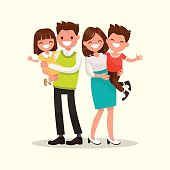 Happy family. Father, mother, son and daughter together. Vector