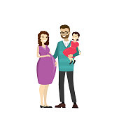 Happy family - father, pregnancy mother,daughter,