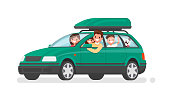 Happy family goes by car on vacation. Father, mother, son, daughter and dog go on a trip. Vector illustration