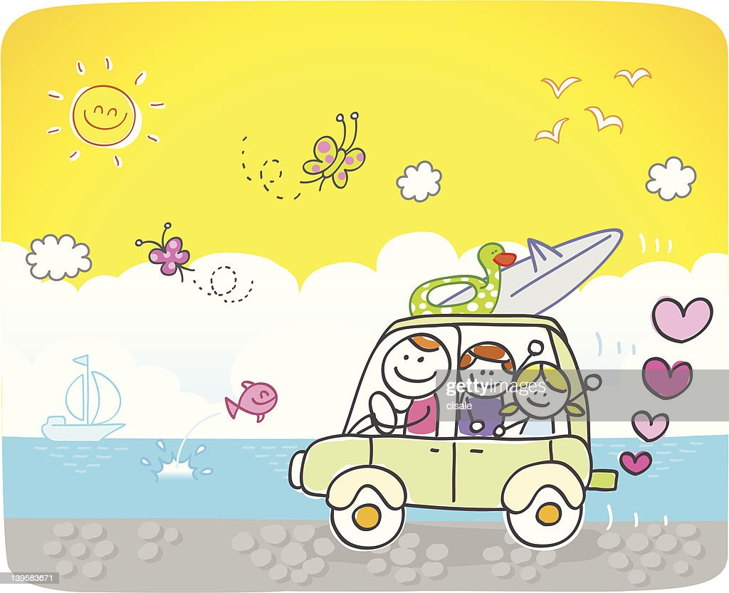 happy family going to beach cartoon illustration : stock illustration