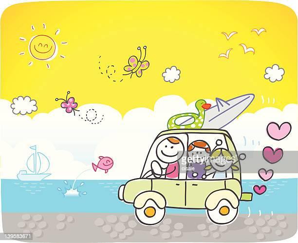 happy family going to beach cartoon illustration