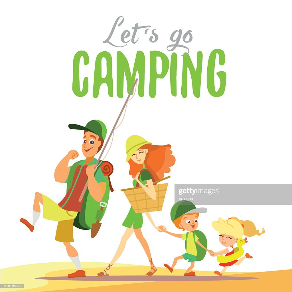 Happy family going together on camping at summer.