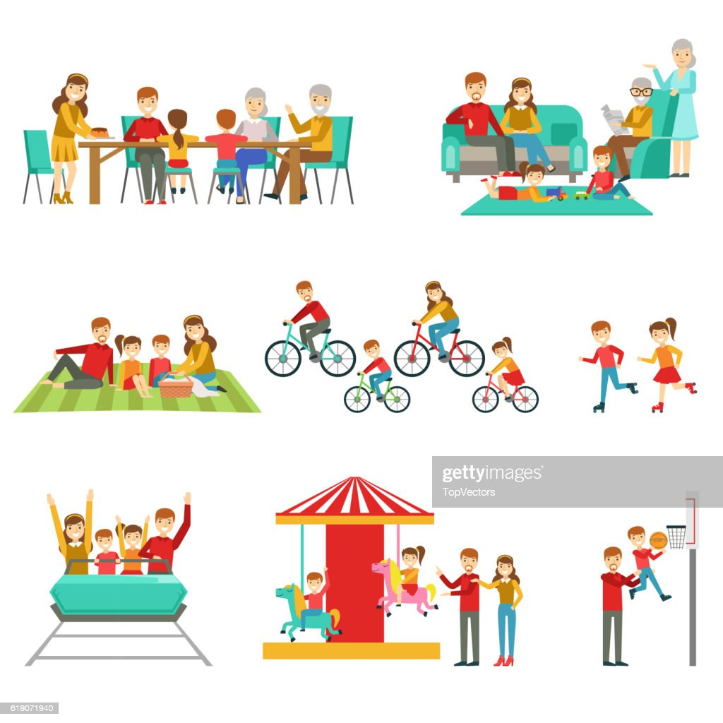 Happy Family Having Good Time Together Set Of Illustrations