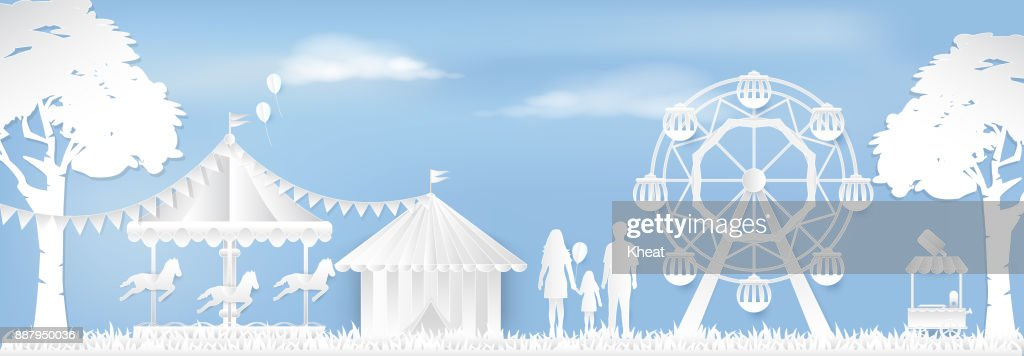 Happy Family in Amusement park with ferris wheel and carousel paper art style, paper cut background