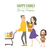happy family in grocery store with shopping cart