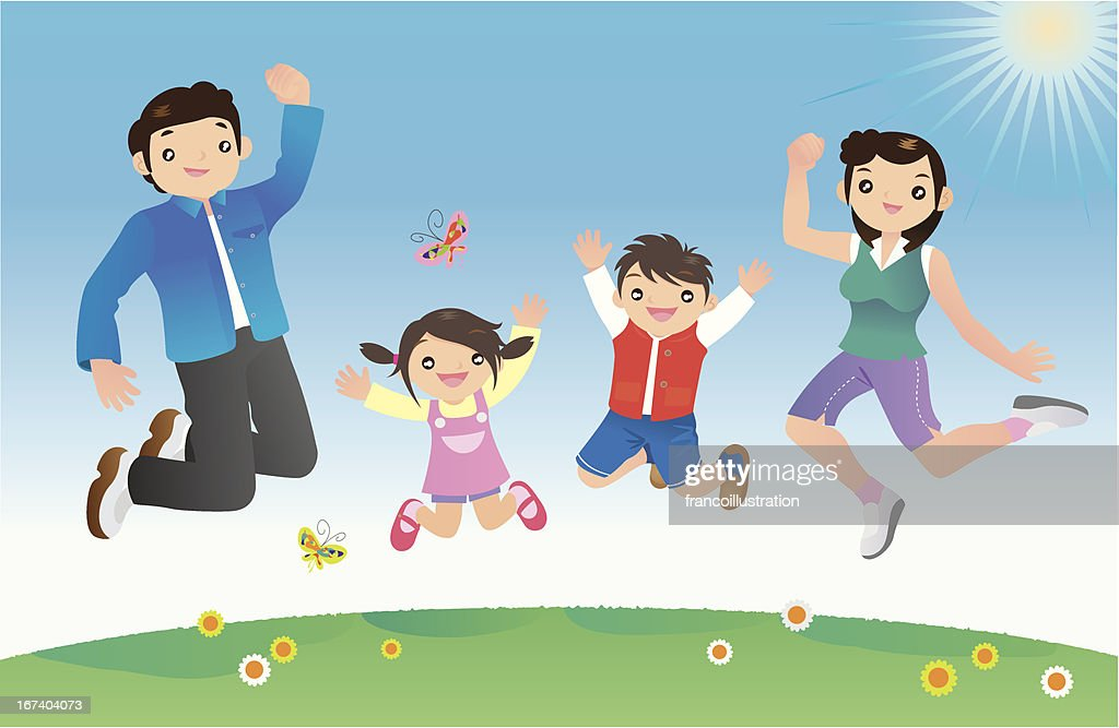 Happy family jumping against blue sky : Vector Art