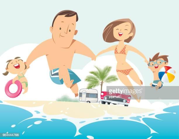 illustrations, cliparts, dessins animés et icônes de héhé, sauter sur une plage de sable fin. - parents