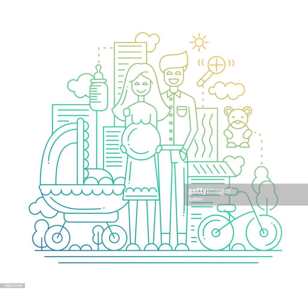 Happy family - line design illustration