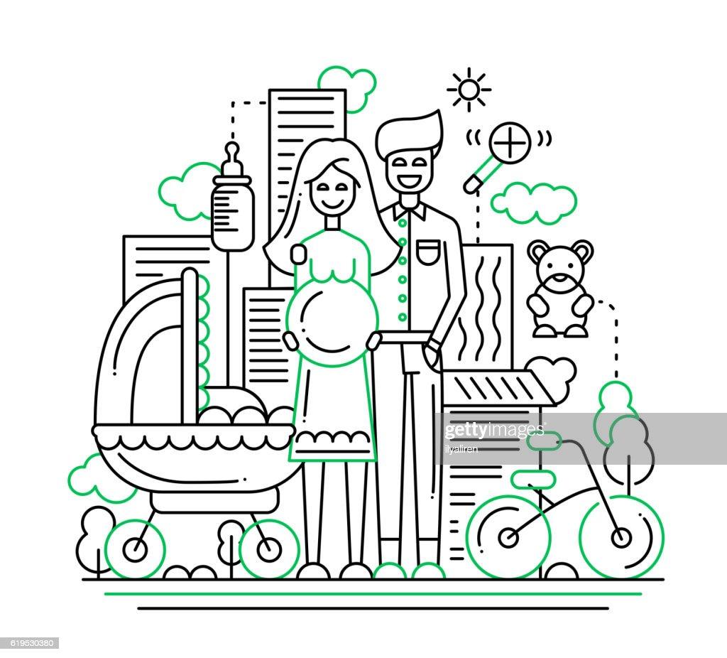 Happy family - line design illustration