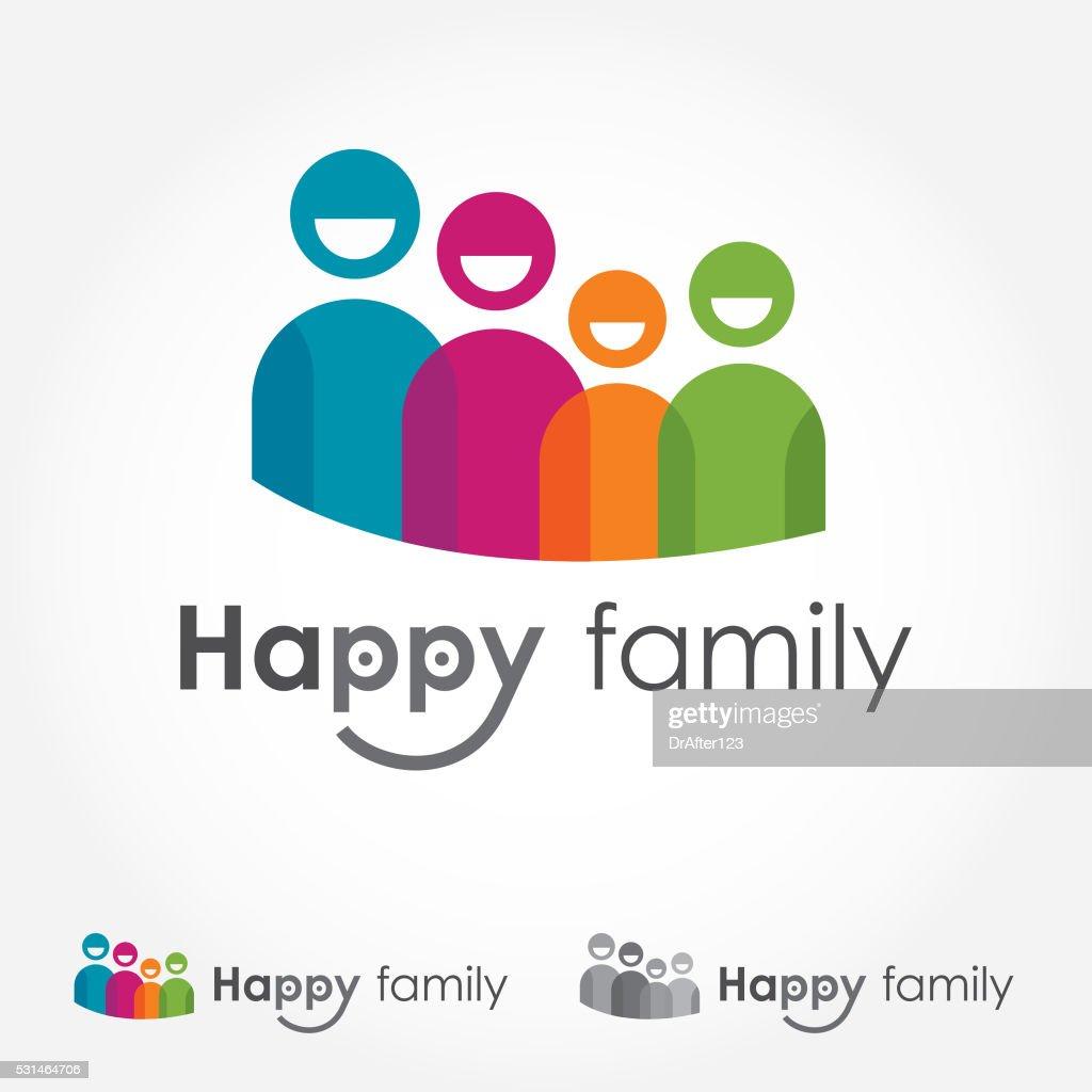 Família feliz com logotipo : Ilustração