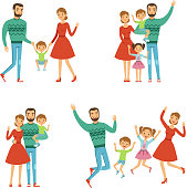 Happy family. Mother, father and kids. Characters with smiles in vector style