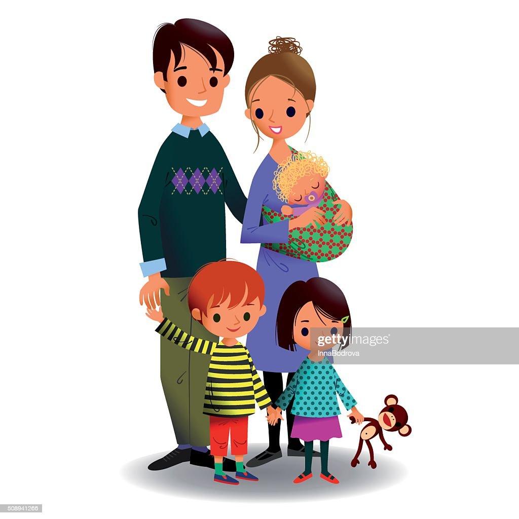 Happy Family of Five. : Stock Illustration