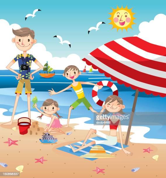happy family on beach - beach holiday stock illustrations, clip art, cartoons, & icons