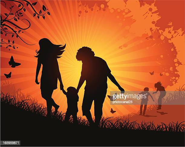 Happy Family on Nature