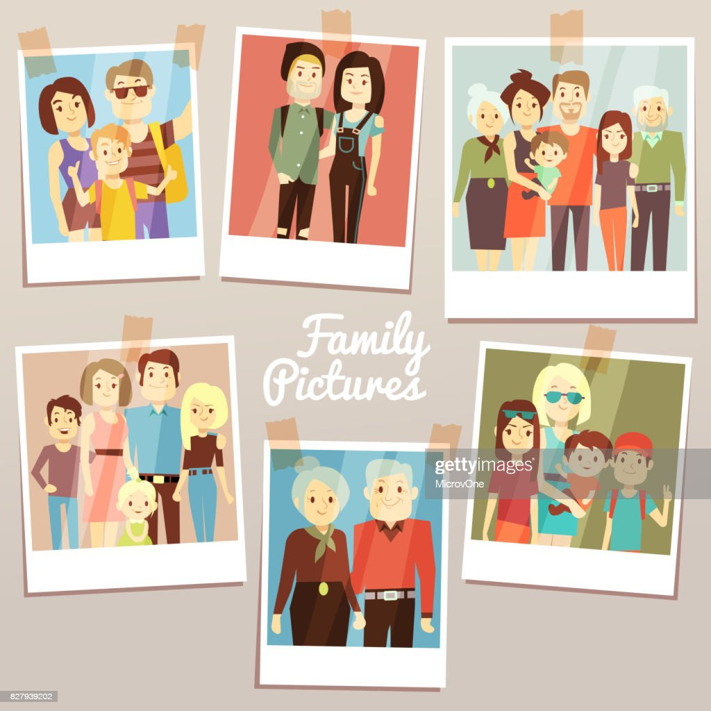 Happy family pictures with different generations vector set. Photo familys memories