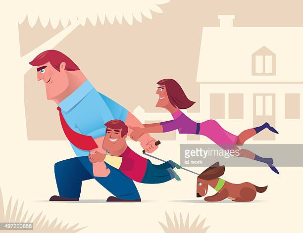 happy family playing - dogs tug of war stock illustrations