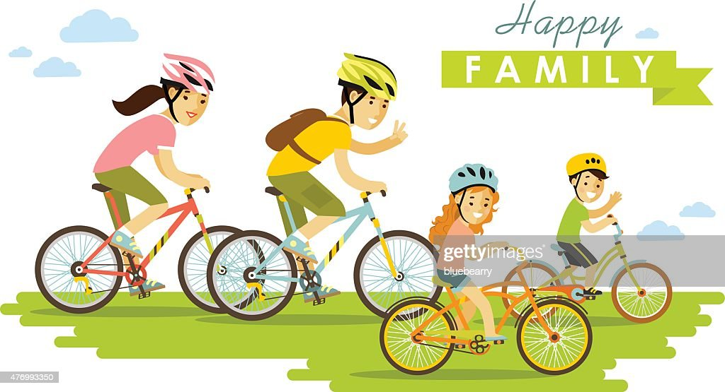 Happy family riding bikes isolated on white background flat style