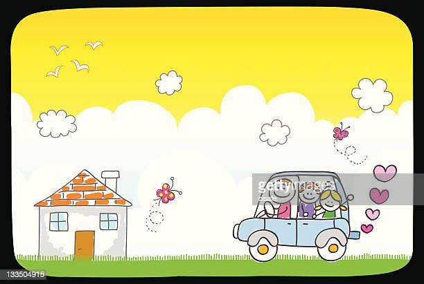 happy family riding to home and nature cartoon