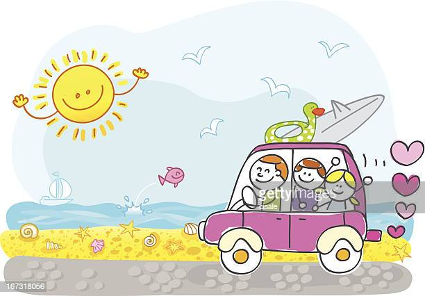 happy family riding to summer holiday beach cartoon illustration