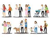 Happy family set ,Vector illustration cartoon character.