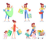 Happy family shopping - mother with happy kids. Big sale. Purchasing of goods and gifts.
