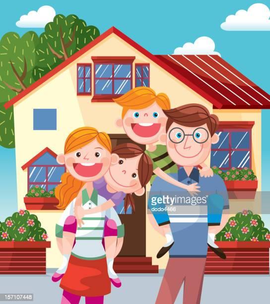 ilustraciones, imágenes clip art, dibujos animados e iconos de stock de happy family standing antes de su hogar - interior de la casa