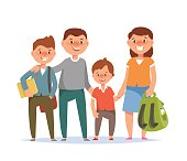 Happy family standing togetherness father, mother, son elementary schoolboy and student