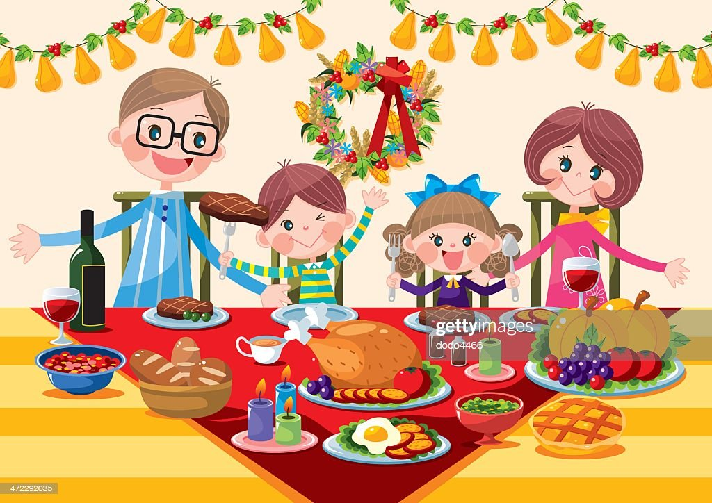 Happy Family Thanksgiving Dinner Vector Art