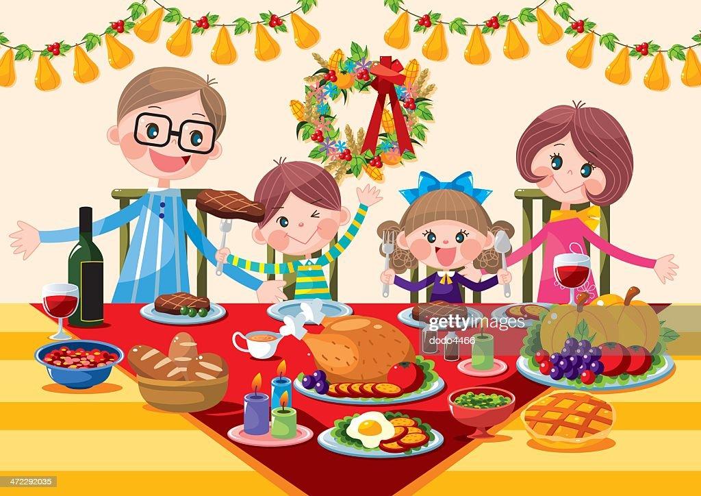Happy family Thanksgiving Dinner