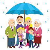 Happy family under umbrella