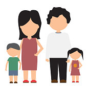Happy family vector icon with flat and solid color design.